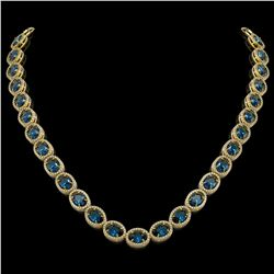 55.41 CTW London Topaz & Diamond Halo Necklace 10K Yellow Gold - REF-576M2H - 40591