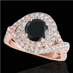 2 CTW Certified VS Black Diamond Solitaire Halo Ring 10K Rose Gold - REF-98N8Y - 33877