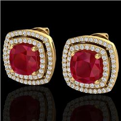 4.95 CTW Ruby & Micro Pave VS/SI Diamond Halo Earrings 18K Yellow Gold - REF-116K4W - 20170