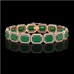 38.61 CTW Emerald & Diamond Halo Bracelet 10K Rose Gold - REF-456H5A - 41523