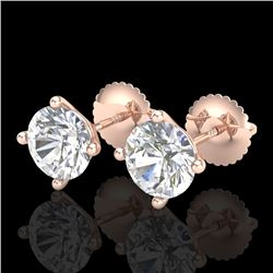 2 CTW VS/SI Diamond Solitaire Art Deco Stud Earrings 18K Rose Gold - REF-591F2N - 37305