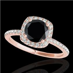 1.25 CTW Certified VS Black Diamond Solitaire Halo Ring 10K Rose Gold - REF-55W3F - 33329