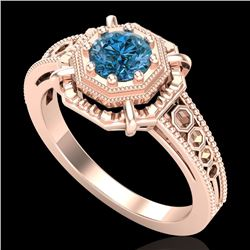 0.53 CTW Fancy Intense Blue Diamond Solitaire Art Deco Ring 18K Rose Gold - REF-109A3X - 37440
