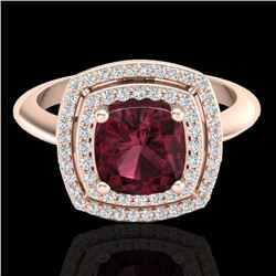 2.27 CTW Garnet & Micro VS/SI Diamond Pave Halo Ring 14K Rose Gold - REF-55T3M - 20761