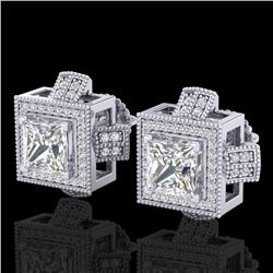 2.75 CTW Princess VS/SI Diamond Micro Pave Stud Earrings 18K White Gold - REF-684H3A - 37187