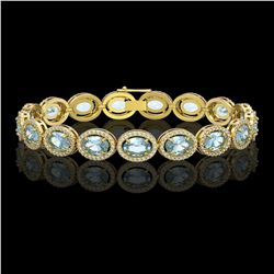 18.38 CTW Aquamarine & Diamond Halo Bracelet 10K Yellow Gold - REF-320Y9K - 40627