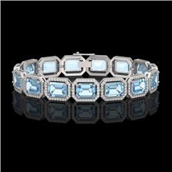 36.81 CTW Aquamarine & Diamond Halo Bracelet 10K White Gold - REF-600F4N - 41546