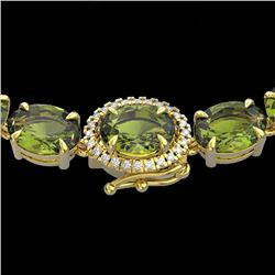 35.25 CTW Green Tourmaline & VS/SI Diamond Tennis Micro Halo Necklace 14K Yellow Gold - REF-340W2F -