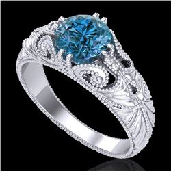 1 CTW Intense Blue Diamond Solitaire Engagement Art Deco Ring 18K White Gold - REF-190M9H - 37530