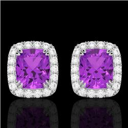 2.50 CTW Amethyst & Micro Pave VS/SI Diamond Halo Earrings 10K White Gold - REF-41F3N - 22855