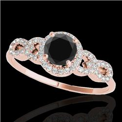 1.33 CTW Certified VS Black Diamond Solitaire Ring 10K Rose Gold - REF-59F5N - 35317