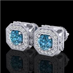 2.75 CTW Fancy Intense Blue Diamond Art Deco Stud Earrings 18K White Gold - REF-290N9Y - 38286