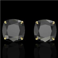 12 CTW Cushion Cut Black VS/SI Diamond Designer Stud Earrings 18K Yellow Gold - REF-208T2M - 21776