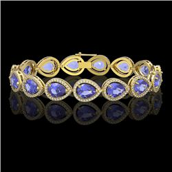 21.06 CTW Tanzanite & Diamond Halo Bracelet 10K Yellow Gold - REF-532W4F - 41245