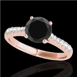 1.25 CTW Certified VS Black Diamond Solitaire Ring 10K Rose Gold - REF-52H8A - 34823