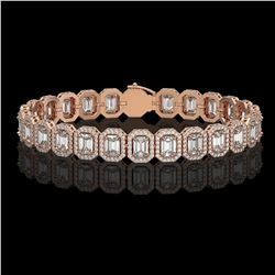 17.28 CTW Emerald Cut Diamond Designer Bracelet 18K Rose Gold - REF-3582A4X - 42789