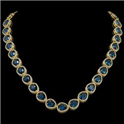 44.8 CTW London Topaz & Diamond Halo Necklace 10K Yellow Gold - REF-625T3M - 41224
