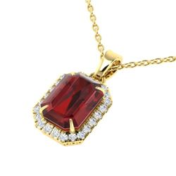 6 CTW Garnet And Micro Pave VS/SI Diamond Halo Necklace 18K Yellow Gold - REF-50Y9K - 21362