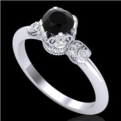 1 CTW Fancy Black Diamond Solitaire Engagement Art Deco Ring 18K White Gold - REF-95T5M - 37394