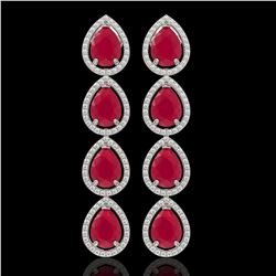 16.01 CTW Ruby & Diamond Halo Earrings 10K White Gold - REF-199T6M - 41285