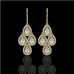 5.22 CTW Pear Diamond Designer Earrings 18K Yellow Gold - REF-969N6Y - 42775