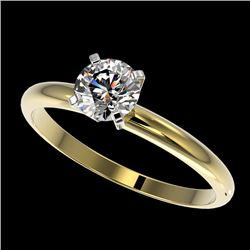 0.75 CTW Certified H-SI/I Quality Diamond Solitaire Engagement Ring 10K Yellow Gold - REF-118A2X - 3