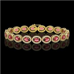 13.87 CTW Tourmaline & Diamond Halo Bracelet 10K Yellow Gold - REF-271N6Y - 40471