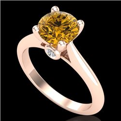 1.6 CTW Intense Fancy Yellow Diamond Engagement Art Deco Ring 18K Rose Gold - REF-289Y3K - 38219