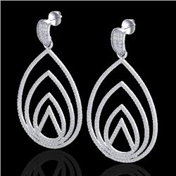 2.50 CTW Micro Pave VS/SI Diamond Designer Earrings 18K White Gold - REF-277A6X - 22476
