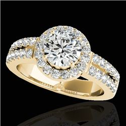 1.5 CTW H-SI/I Certified Diamond Solitaire Halo Ring 10K Yellow Gold - REF-180W2F - 33991