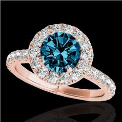 2 CTW Si Certified Fancy Blue Diamond Solitaire Halo Ring 10K Rose Gold - REF-227W3F - 33451
