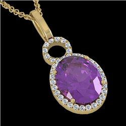 3 CTW Amethyst & Micro Pave Halo VS/SI Diamond Necklace 14K Yellow Gold - REF-45F3N - 22752