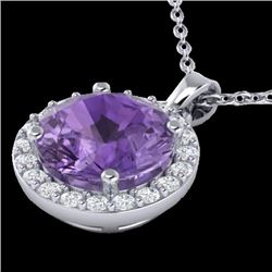 2 CTW Amethyst & Halo VS/SI Diamond Micro Pave Necklace 18K White Gold - REF-40A5X - 21549