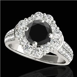 2.81 CTW Certified VS Black Diamond Solitaire Halo Ring 10K White Gold - REF-136W5F - 33961