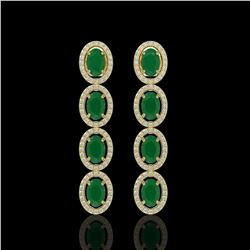 6.47 CTW Emerald & Diamond Halo Earrings 10K Yellow Gold - REF-114F2N - 40504
