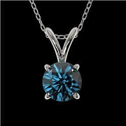 0.51 CTW Certified Intense Blue SI Diamond Solitaire Necklace 10K White Gold - REF-51K2W - 36726
