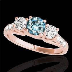 3.25 CTW Si Certified Fancy Blue Diamond 3 Stone Ring 10K Rose Gold - REF-394W5F - 35454