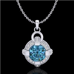 1.57 CTW Fancy Intense Blue Diamond Micro Pave Stud Necklace 18K White Gold - REF-147N3Y - 37635