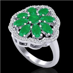4 CTW Emerald & VS/SI Diamond Cluster Designer Halo Ring 10K White Gold - REF-60H9A - 20779