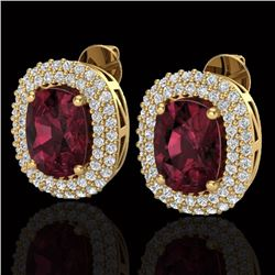 5.20 CTW Garnet & Micro Pave VS/SI Diamond Halo Earrings 10K Yellow Gold - REF-97A5X - 20116