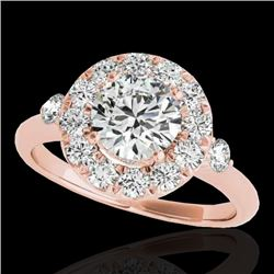 1.5 CTW H-SI/I Certified Diamond Solitaire Halo Ring 10K Rose Gold - REF-180X2T - 33455