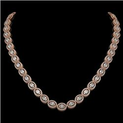 30.41 CTW Oval Diamond Designer Necklace 18K Rose Gold - REF-5531T8M - 42615