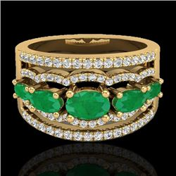 2.25 CTW Emerald & Micro Pave VS/SI Diamond Designer Ring 10K Yellow Gold - REF-71M3H - 20801