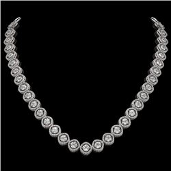 29.37 CTW Cushion Cut Diamond Designer Necklace 18K White Gold - REF-5275K5W - 42803