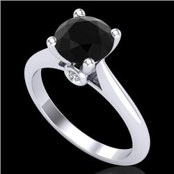 1.6 CTW Fancy Black Diamond Solitaire Engagement Art Deco Ring 18K White Gold - REF-100M2H - 38213