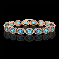 24.32 CTW Swiss Topaz & Diamond Halo Bracelet 10K Rose Gold - REF-252F8N - 40635