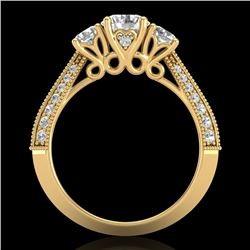 1.81 CTW VS/SI Diamond Art Deco 3 Stone Ring 18K Yellow Gold - REF-262H5A - 37147