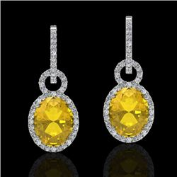 6 CTW Citrine & Micro Pave Solitaire Halo VS/SI Diamond Earrings 14K White Gold - REF-98Y2K - 22731