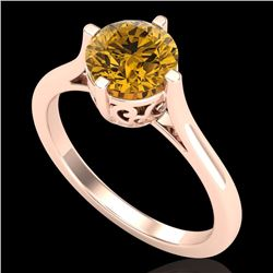1.25 CTW Intense Fancy Yellow Diamond Engagement Art Deco Ring 18K Rose Gold - REF-218W2F - 38065