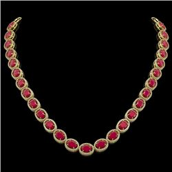 52.15 CTW Ruby & Diamond Halo Necklace 10K Yellow Gold - REF-655F3N - 40558
